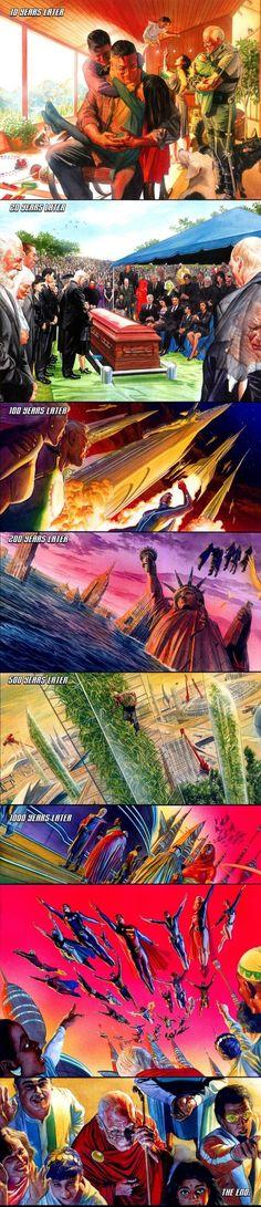 O Último Ato de Superman e a Sociedade da Justiça da América em O Reino do Amanhã.