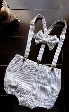 Bowtie, Suspender and Diaper Cover Set in Grey Seersucker for newborn, toddler and boys. $45.00, via Etsy.