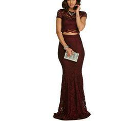 WINDSOR Dresses - Burgandy Two Piece Lace Dress