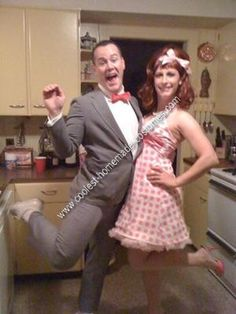 Homemade Pee Wee Herman and Miss Yvonne Couple Halloween Costume... This website is the Pinterest of costumes