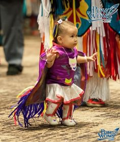 Tiny Tots - 2013 Hunting Moon Pow Wow... smart - sewing shawl to top.of dress and putting bands at the ends for wrists!