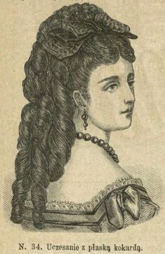 Uczesanie z płaską kokardą, marzec 1873 Hairstyle with a flat bow, March 1873