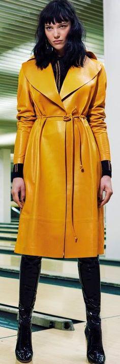 Celine mustard yellow leather coat