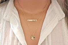 Layered Necklaces Gold Bar Necklace Gold Disc by DelicateTouches