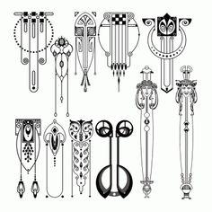 Vertical Art Nouveau designs