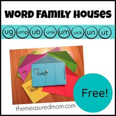Free word family houses for short u.  Pattern and directions are in the blogpost.  Cute!