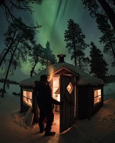 """""""I stayed in this hut in Finnish Lapland on an island in middle of a frozen lake while I hunted for Aurora Borealis. This cozy place was more than I could ever need."""" Submitted by Cabana, Road Trip, Cabin Tent, Peaceful Places, Cozy Place, Camping Life, Camping Style, Outdoor Survival, Cabins In The Woods"""