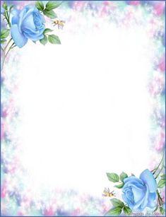 Printable Stationary ff f f f f ff f f f f f Free Printable Stationery, Printable Paper, Borders For Paper, Borders And Frames, Framed Wallpaper, Paper Frames, Blue Roses, Floral Border, Writing Paper