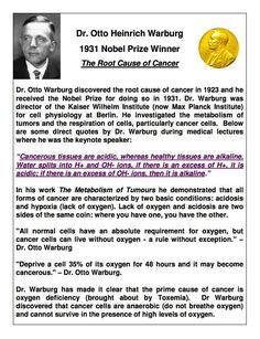 Dr. Otto Heinrich Warburger 1931 Nobel Prize Winner. The Root Cause of Cancer