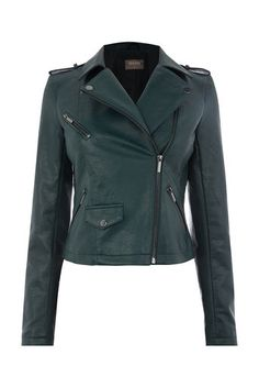 4d58b0ff0171 Oasis, FAUX LEATHER LUCY BIKER Deep Green Biker, Leather Jacket, Footwear,  Jackets