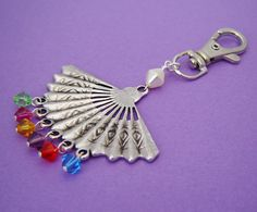 New to MyBeadedTreasures on Etsy: Rainbow Fan Bag Charm (9.00 GBP)