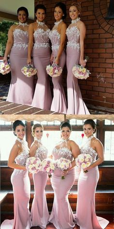 halter mermaid pink bridesmaid dresses, chic wedding party dresses, mermaid evening gowns with appliques bodice Pinterest Bridesmaid Dresses, Royal Blue Bridesmaid Dresses, Mermaid Bridesmaid Dresses, Mermaid Dresses, Bridal Dresses, Mermaid Evening Gown, Evening Gowns, Popular Dresses, Dream Wedding Dresses