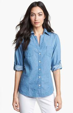 Another great denim shirt!!! Foxcroft Roll Sleeve Denim Shirt | Nordstrom