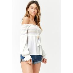 Forever 21 Smocked Stitched Off-the-Shoulder Top  White/red ($12) ❤ liked on Polyvore featuring tops, blouses, red peasant blouse, off-the-shoulder blouses, red blouse, white off the shoulder blouse and off-shoulder blouses
