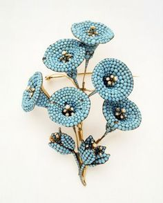 Turquoise and Pearl Flower Brooch,   English ca1835-1850