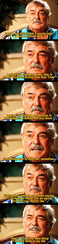 James Doohan talking about his proudest moment. I just might burst into tears. :')