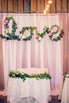 Handmade floral love sign at barn wedding {The Windmill Winery AZ} My favorite Idea I had , made a big impact!