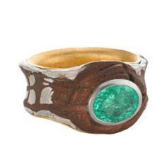 One-of-a-Kind Mozambique Paraiba Tourmaline Gold Mokumegane Cocktail Ring