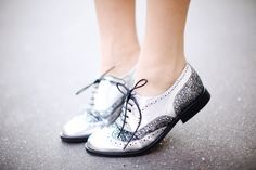 Silver + Glitter Brogues #shoes  thecherryblossomgirl.com
