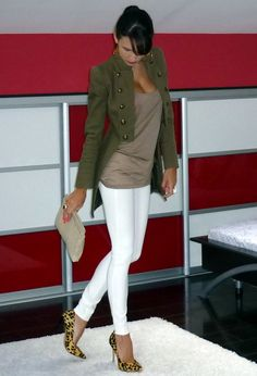 Green Jacket  Brown Shirt  White Skinny Jeans  Cheetah Heels. Except the shoes have to go.
