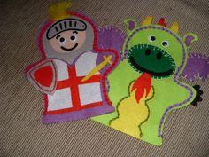 Set of 2 Felt Childrens Knight and Dragon Hand by MakeStitchKnit, $20.00