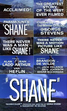 Shane (1953) trailer typography
