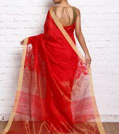 Red Hand Woven Pure Silk & Matka Silk Dhakai Jamdani Saree