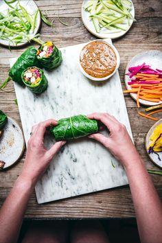 Vegan Dinner Recipes, Raw Food Recipes, Gluten Free Recipes, Healthy Recipes, Shrimp Recipes, Vegan Desserts, Chicken Recipes, Vegan Collard Greens, Collard Green Wraps