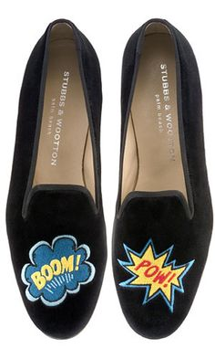 """""""Boom"""" and """"Pow"""" Comic book art Stubbs&Wootton slippers"""