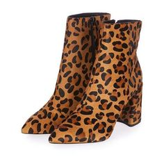 TopShop Heart Leopard Flare Boot ($135) ❤ liked on Polyvore featuring shoes, boots, ankle booties, ankle boots, high heel boots, leopard ankle boots, leather ankle booties and leopard bootie