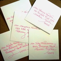 """Sweet little bridal shower invitation envelopes in my """"Contempo"""" writing style - in hot pink ink    {Calligraphy by Carrie}"""