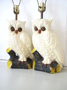 Vintage Owl Lamps Set of Two Large Retro White by BeatriceInBlue, $120.00 Electrical Fixtures, Owl Lamp, Vintage Owl, Lamp Sets, Owls, Light Fixtures, Lamps, Ceramics, Orange