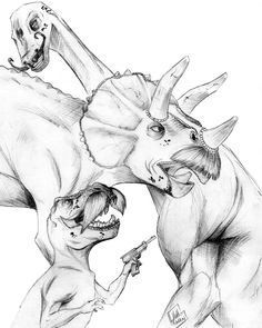 dinosaurs with mustaches by ~mnhansen on deviantART