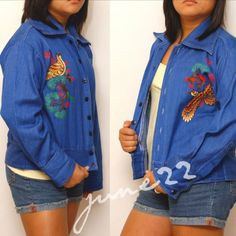 1970 vintage resized BIRDS light jacket by june22