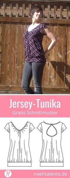 Gratis Schnittmuster für eine Damentunika aus Jersey. PDF-Schnittmuster Größe XS, S, M, L, XL. Nähtalente.de - Magazin für kostenlose Schnittmuster - Free sewing pattern for a woman tunic with knit fabrics. PDF-sewing pattern for print at home in size XS, S, M, L, XL. Nähtalente.de - Magazine for sewing and free sewing patterns #nähen #freebook #schnittmuster #gratis #nähenmachtglücklich #freesewingpattern #handmade #diy