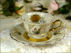 Winterling Bavaria Mini Golden Butterflies Teacup and Saucer Set from Germany