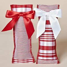 Set of Four, Red & White Stripe Balsam Sachets with Red Bow and White Bow - From the Snowy Christmas Collection