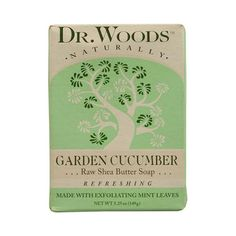<b> Dr. Woods Naturally Bar Soap Garden Cucumber <b>Description:</b> </b>  <br> Raw Shea Butter Soap <br> Refreshing <br> Made with Exfoliating Mint Leaves <p>Cool and Inviting</P> <p>This Garden Cucumber Soap with Mint Leaf Exfoliant gently cleans and rejuvenates your skin to a fresh garden glow. Organic Shea Butter, Crushed Mint Leaves and Vitamin E complement this refreshing fragrance with antioxidants and natural soothing properties that maintain your skin's health and youthful…