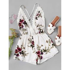 Shop Lace Panel Open Back Floral Cami Romper online. SheIn offers Lace Panel Open Back Floral Cami Romper & more to fit your fashionable needs. Teenager Outfits, Outfits For Teens, Trendy Outfits, Girl Outfits, Fashion Outfits, Fashion Tips, Cute Summer Outfits, Spring Outfits, Cute Outfits