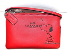 COACH X Peanuts SNOOPY Limited Edition Red Leather Wristlet Clutch Wallet NWT  889532152995 | eBay