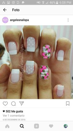 Uñas French Nail Art, French Tip Nails, How To Do Nails, Fun Nails, Pretty Nails, Gorgeous Nails, Rose Nails, Flower Nail Art, Cute Nail Art