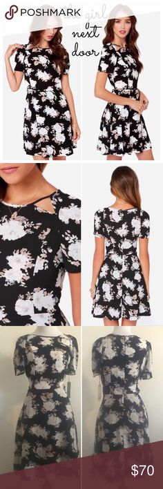 BB Dakota Vintage Floral Cutout Girly Black Dress What separates this feminine A-Line black dress are the details.✨ A white and cream vintage floral pattern adds ladylike appeal. The cutouts at the neckline and semi-sheer bodice give this classic dress something special! Wear with a cami & a blazer to work or a bralette & leather jacket out with friends. It's already beautiful.. Now make it yours!SOLD OUT @ Lulu's & ShopBop. ⭐️Retail: $90! ⭐️100% Poly Crepe (Skirt is lined, Bodice is not)…