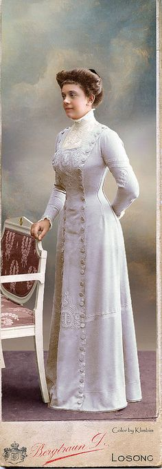 Around 1905 | Late Edwardian clothing had a lot in common with Natural Form era (1875-1883) clothing. This dress is a great example!