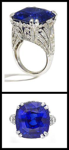 Ornate sapphire and diamond ring, by... | Diamonds in the Library