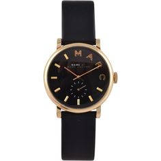 Marc By Marc Jacobs Leather Stainless Steel Watch ($245) ❤ liked on Polyvore featuring jewelry, watches, accessories, bracelets, black, stainless steel watches, stainless steel jewelry, black leather watches, black dial watches and marc by marc jacobs jewelry