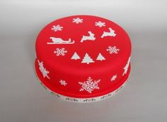 Red reindeer Christmas cake by The Little Velvet Cake Company Christmas Cake Designs, Christmas Cake Decorations, Christmas Party Food, Christmas Sweets, Holiday Cakes, Christmas Cooking, Christmas Goodies, Christmas Cakes, Xmas Cakes