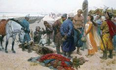 A viking selling a slave girl to a persian merchant