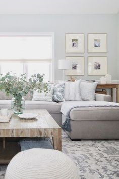 48 ideas living room sectional sofa house for 2019 Gray Sectional Living Room, Farm House Living Room, Apartment Living Room, Trendy Living Rooms, Coastal Living Rooms, Living Room Grey, Havenly Living Room, Living Decor, Living Room Reveal