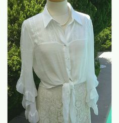 Shabby Chic Ruffled Sheer Romantic Victorian Beach Button Up Sexy Boho Blouse   Clothing, Shoes & Accessories, Women's Clothing, Tops & Blouses   eBay!