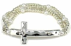 Heirloom Finds Silver Tone Hammered Sideways Cross Bracelet with Triple Strand Beaded Band